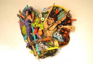 Eric liot assemblage   collage sur bois 110x110cm le chasseur - copie