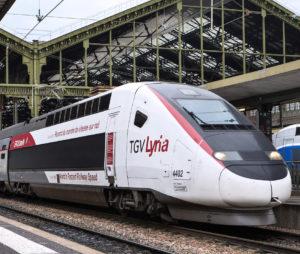 TGV Lyria a quai, a Paris Gare de Lyon. Rame detentrice du record du monde de vitesse sur rail.